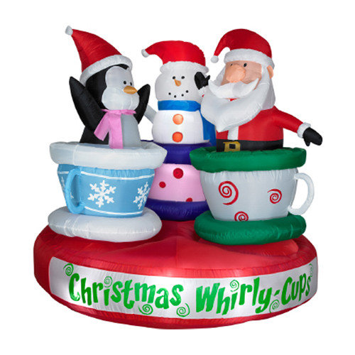 Animated Christmas blowups and inflatable tea cup with santa claus